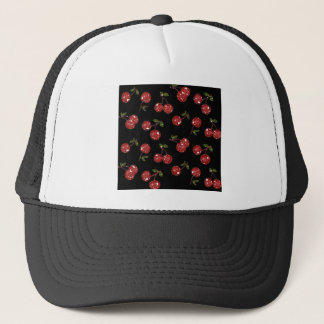 RAB Rockabilly Very Cherry Cherries On Black Trucker Hat