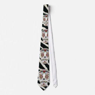 RAB Rockabilly Zebra Print Sugar Skulls Tie