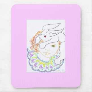 Rabbit and Child Mouse Pad
