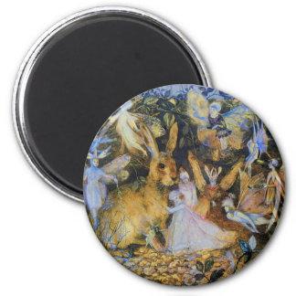 Rabbit and fairies vintage fairy tale art. magnet