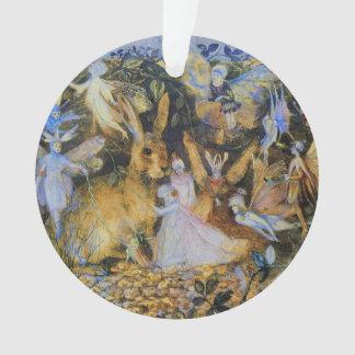 Rabbit and fairies vintage fairy tale art. ornament