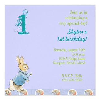 Rabbit and Friends Birthday 13 Cm X 13 Cm Square Invitation Card