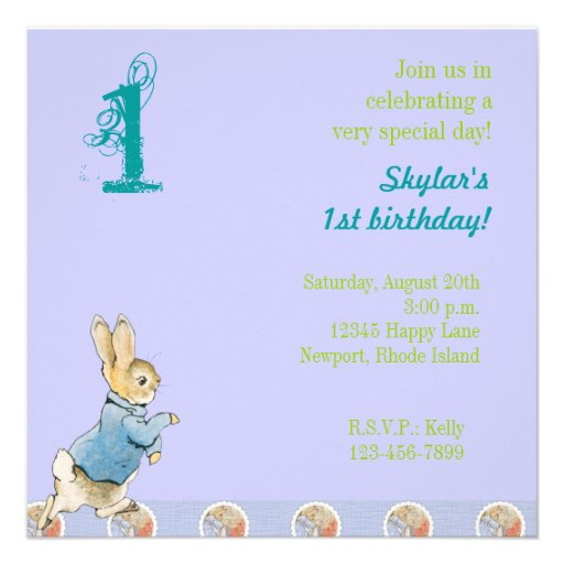 Rabbit and Friends Birthday Personalized Invitation
