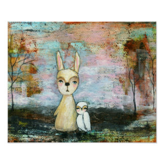 Rabbit and Owl, Woodland Animals Custom Size Poster