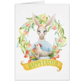 Rabbit and Spring Tulips Happy Easter Card