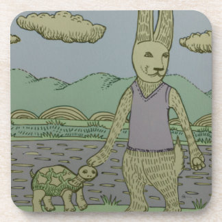 Rabbit and Turtle Drink Coasters