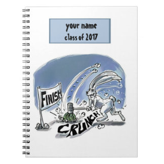 rabbit and turtle race funny cartoon spiral notebook