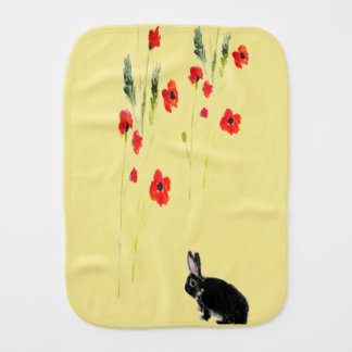 Rabbit Art and Colorful Red Poppy Burp Cloth