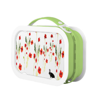 Rabbit Art and Red Poppies Floral Lunch Box