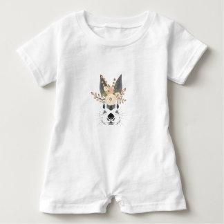 Rabbit Baby Romper Floral Art Baby Bodysuit