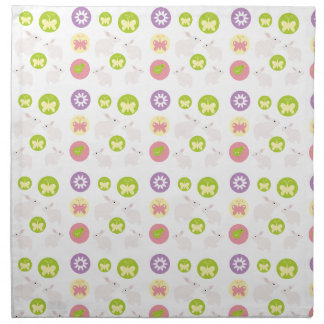 Rabbit, bird, and butterfly patterns printed napkins
