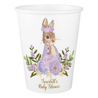 Rabbit Birthday Bunny Paper Cup Purple Flowers