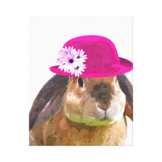 Rabbit bunny cute funny animal nursery kids room canvas print