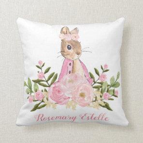 Rabbit Bunny Pink Floral Baby Girl Nursery Decor Cushion