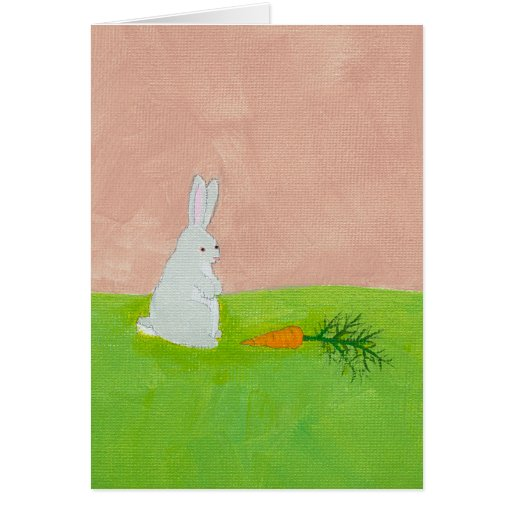 Rabbit carrot fresh modern art colorful painting card