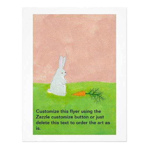 Rabbit carrot fresh modern art colorful painting flyers