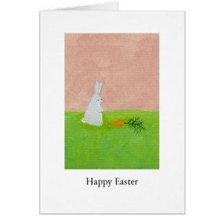 Rabbit carrot fresh modern art colorful painting greeting card