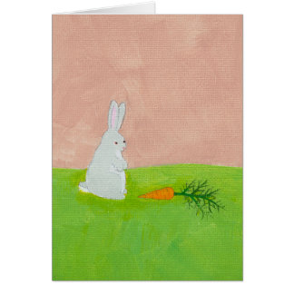 Rabbit carrot fresh modern art colorful painting greeting card