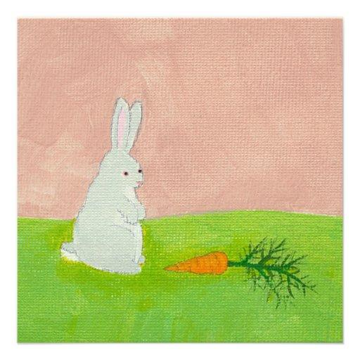 Rabbit carrot fresh modern art colorful painting invitations