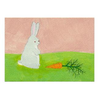 Rabbit carrot fresh modern art colorful painting custom announcement