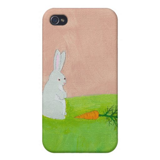 Rabbit carrot fresh modern art colorful painting iPhone 4 cases