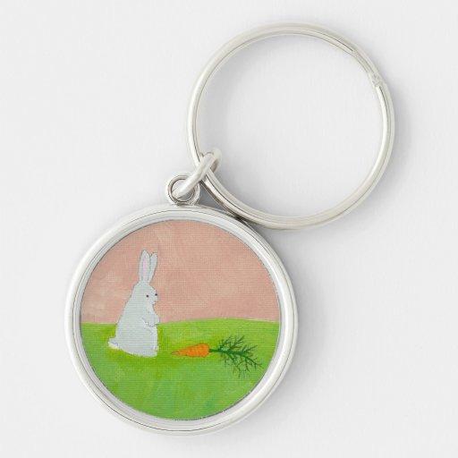 Rabbit carrot fresh modern art colorful painting key chains