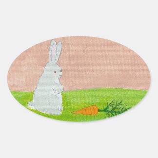 Rabbit carrot fresh modern art colorful painting oval sticker