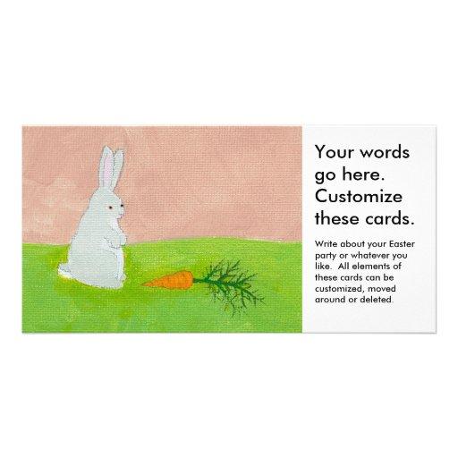 Rabbit carrot fresh modern art colorful painting custom photo card
