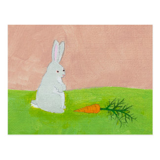 Rabbit carrot fresh modern art colorful painting postcard