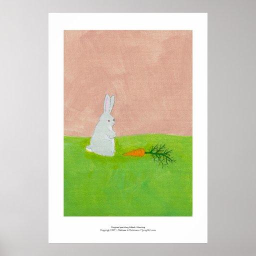 Rabbit carrot fresh modern art colorful painting poster