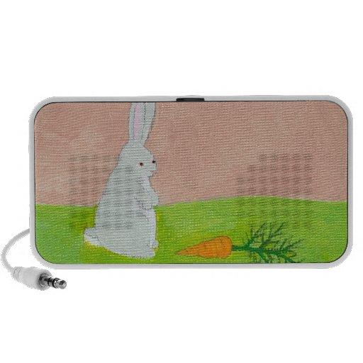 Rabbit carrot fresh modern art colorful painting laptop speaker