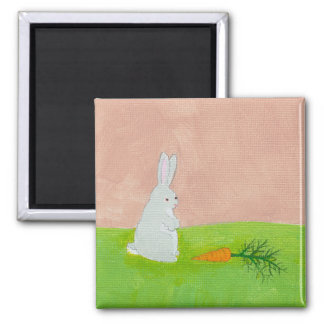 Rabbit carrot fresh modern art colorful painting square magnet