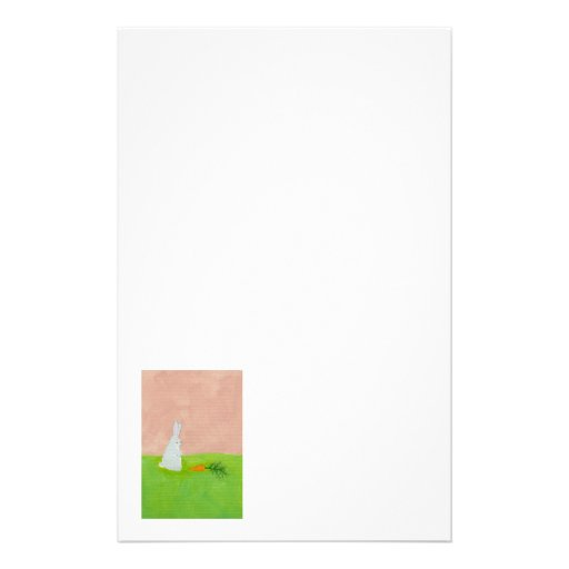 Rabbit carrot fresh modern art colorful painting stationery paper