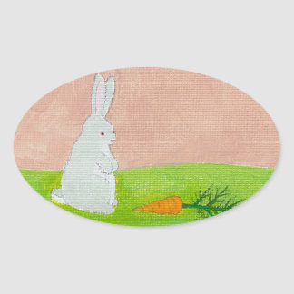Rabbit carrot fresh modern art colorful painting sticker