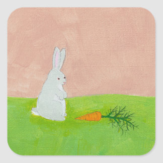 Rabbit carrot fresh modern art colorful painting square stickers