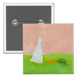 Rabbit carrot whimsical fun art colorful painting 15 cm square badge