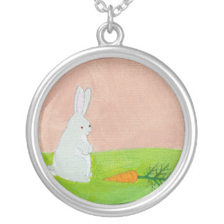Rabbit carrot whimsical fun art colorful painting round pendant necklace