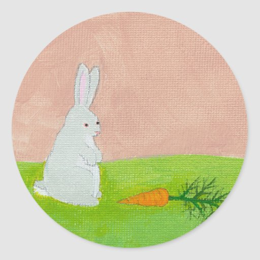 Rabbit carrot whimsical fun art colorful painting round stickers