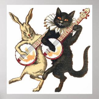 Rabbit & Cat Poster