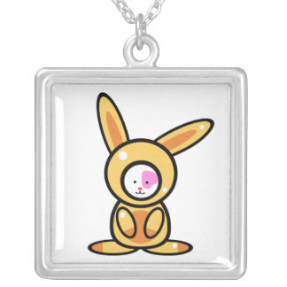 Rabbit Cats(Front view) Silver Plated Necklace