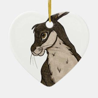 Rabbit Ceramic Heart Decoration