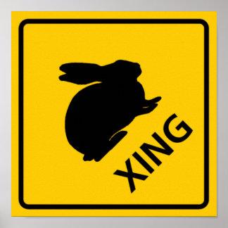 Rabbit Crossing Highway Sign Poster