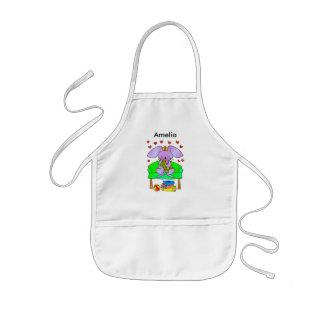 Rabbit cuddling teddy bear kids apron