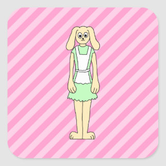 Rabbit Dressed as a Waitress. Square Sticker