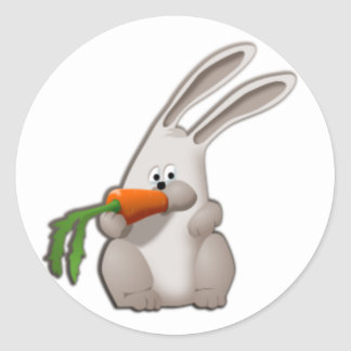 Rabbit Eating A Carrot Classic Round Sticker