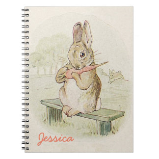 RABBIT EATING A CARROT, CUTE BUNNY NOTEBOOK