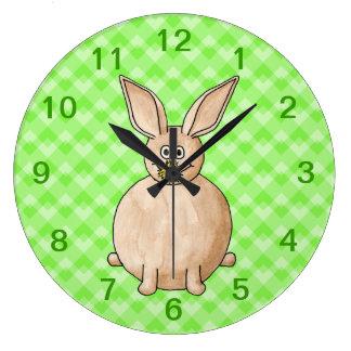 Rabbit eating a flower. clock