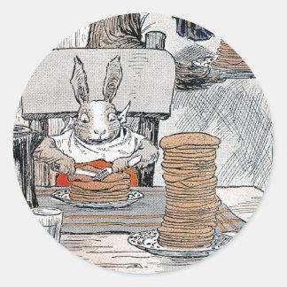 Rabbit Eating Pancake Breakfast Round Sticker