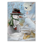 Rabbit Eating Snowman's Nose Card