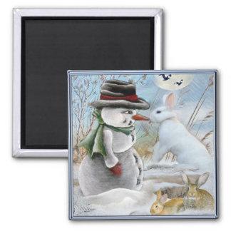 Rabbit Eating Snowman's Nose Square Magnet